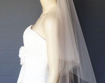 Blush Wedding Veil, 2-Tier Angel Cut Veil, Pink Bridal Veil, Waist Length Veil