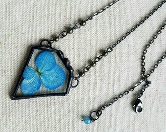 Blue Hydrangea Blossom Necklace