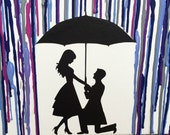Engagement Gifts For Couples, Engagement Art, Melted Crayon Art, Engagement Gift For Fiance, Rain Umbrella Painting, Silhouette Art 16x20