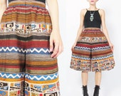 1980s Culottes Vintage Cotton Culotte Shorts Tribal Striped Shorts Egyptian Metallic Gold Loose Baggy Trouser Shorts Ethnic Tribal (XS)