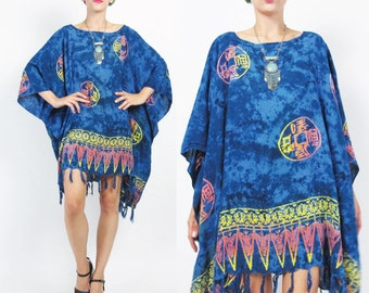Batik Caftan Dress Hippie Boho Mini Dress Purple Beach Kaftan Top SUNS Draped Dress Slouchy Tie Dye Muu Muu Summer Boho Ethnic Fringe (L/XL)