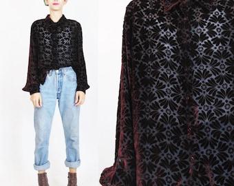90s Burnout Velvet Shirt Sheer Silk Velvet Blouse Burgundy Red Silk Velvet Top Goth Slouchy Womens Velvet Long Sleeve Button Up Shirt (M/L)