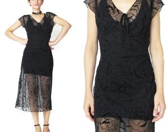 Vintage Flocked Velvet Dress Devore Burnout Velvet Dress 90s Sheer Black Dress Short Sleeve Rose Floral Velvet Dress Black Mesh Dress E284