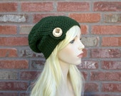 Green Slouchy Beanie with Big Wooden Button, Street Style, Crochet Hats for Women, Teen Fashion, Cute Beanie, Fall and Winter Outerwear