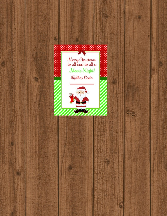 Redbox Gift Tag, Movie Certificate, To All a Movie Night, Movie Gift ...