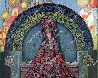 Hand-cut wooden jigsaw puzzle. Russian Princess. Benda Art Deco vintage illustration. Wood, collectible. Bella Puzzles.