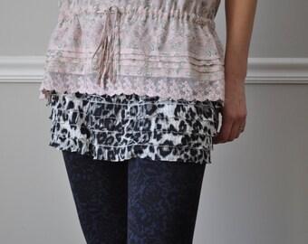 Shirt Extender -  Leopard Print Tiered Ruffle Trim Shirt Extender, Slip Extender,  Size XS S M L XL XXL