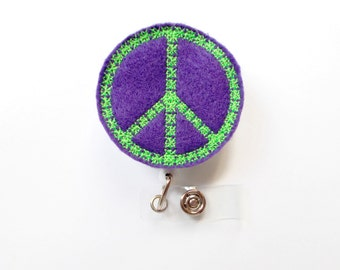 Peace Sign Purple - Retractable ID Badge Reel - MD Badge Holder - Cute Badge Reel - Nurse Badge Holder - Nursing Badge Clip - Teacher Badge