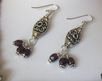 Garnet Earrings with Sterling Silver Accents