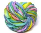 Super bulky handspun yarn, 50 yards and 3 ounces/86 grams, spun super bulky and thick and thin in merino wool