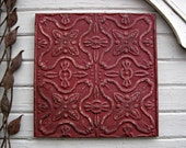 Old Ceiling Tin Tile. 2' x 2'.  FRAMED  Rustic decor,  Architectural salvage.  Metal wall decor. Tin tile. Farmhouse cabin decor. Red tile.