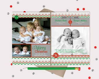 Twins Birth Announcement & Christmas Card  · Announce the birth of twins and send Christmas greetings!