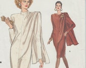 Very Easy Vogue 7635 / Vintage Sewing Pattern / Dress With Attached Wrap / Sizes 14 16 18