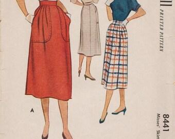 McCall 8441 / Vintage 1950s Sewing Pattern / Skirt / Waist 26