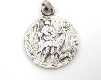 Rare Vintage Saint Hubert - St Benedict Catholic Medal - St Hubertus Patron of Hunters - Safe Hunting Medallion Tschudin Religious Charm R13