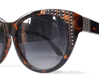 vintage 1990's NOS oversized tortoise shell cat eye sunglasses women fashion accessories sun glasses retro black lens rhinestones round new