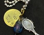 Lapis Lazuli Steven Universe Inspired Hand-Stamped Pendant