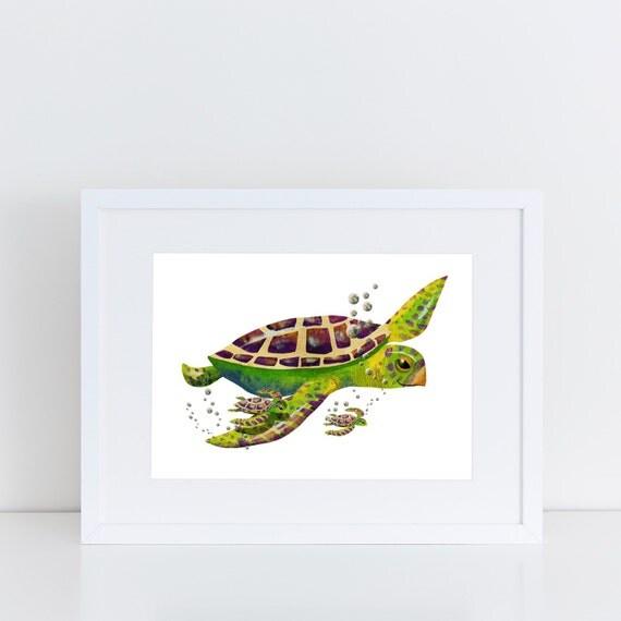 Always Remember Illustration Turtle Family - Signed Print