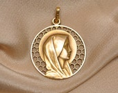 Vintage French Medal 14 kt Gold Plated Virgin Mary Religious from France