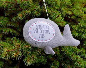 Personalized Whale Christmas Ornament, Baby's First Christmas Ornament, Custom Ornament, Personalised Christmas Decoration