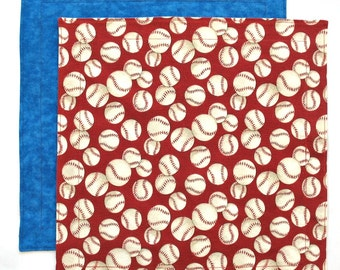 Cloth Napkin, Kids Fabric Lunchbox Napkin, Baseball Fabric Napkin, for Boy or Girl, 1 double sided napkin