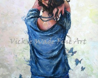 Woman Art Print, sexy lady, tossled hair, brunette girl, black pearl necklace, butterflies, pretty woman, modern home decor, vickie wade art