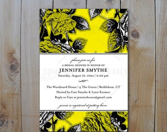 Bridal Shower Invitation / Vintage Yellow and Black Roses / PRINTABLE INVITATION / 22904