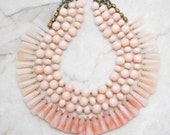 SALE - 50% Off Statement Necklace Tribal Necklace Bohemian Necklace Fringe Necklace Multi Strand Necklace Bold Necklace TaraLynEvans PEACHY