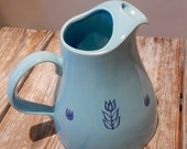 Midcentury Tulip Ware Pitcher Aqua Blue with Dark Blue Stencils Cameron Clay Products West Virginia Highly Collectible Kitchen Kitsch