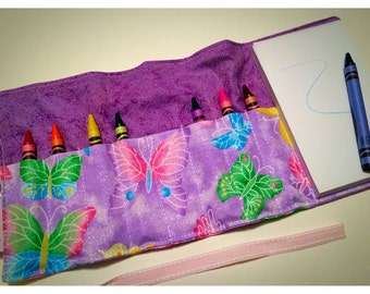Crayon Roll Up - Crayon Holder - Kids Organizer with Pad & Crayons - Sparkly Butterflies