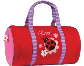 Personalized LADYBUG Vacation Duffle Bag Tote Stephen Joseph Duffle with Easy Ordering
