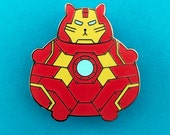 Iron Man Pin - Enamel Badge - Lapel Pin - Cat brooch - Fat Kitty - Robot Cat Brooch - Cat Pin - Cat Lover Gift - Hard Enamel Cat Brooch
