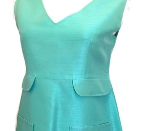 1960's Mod Twiggy Dress, Haute Couture, Boutique Seville, Raw silk, mini Dress