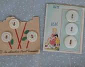 2 Partial Cards of Shell Buttons, Pearl Trimmings - cute graphics