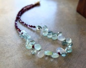 Aqua Briolette Necklace Pale Chalcedony and Aquamarine Teardrops with Tiny Garnets Soft Pale Green and Red Gemstone Jewelry