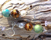 Forest Jasper, Tiger's Eye, and Pearl stack earrings, organic, natural, silver, BEAUTIFUL
