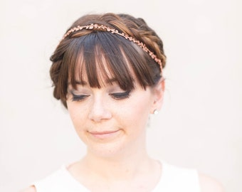 The Rose Vine - Simple Golden or Rose Gold Brass Floral Crown, headband, halo, Boho