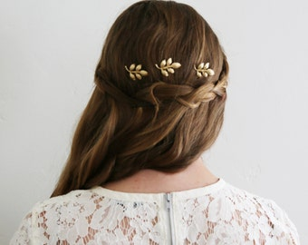 Athena Gold Leaf Mini Combs -  Bridal or Special Occasion Boho Combs, crown, halo, hair piece