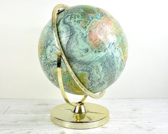 Vintage World Globe Replogle World Ocean Series 1970s Office Decor