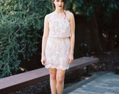 Cara Embroidered Lace Mini Dress, Strapless Dress, Ivory and Nude Dress, Bridesmaids, Bride, Bridal , EveryDay Dress