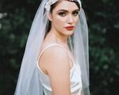 Fernanda, Lace Veil, Juliet Cap Veil, Beaded Cap veil, 1920s Veil, Vintage Veil, Alencon Lace, Kate Moss Veil, Ivory Veil, Cathedral Veil