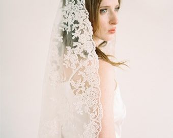 Giovanna Veil,Mantilla Veil,All Lace Veil,Bridal Veil,Wedding Veil,All Lace Veil,Vintage Veil,Ivory veil, IvoryVeil