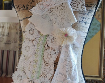 Vintage style shabby chic Mori girl scarf with vintage lace and doilies
