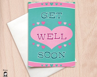 Get Well Soon - Retro Hearts - Get Well Greeting Card