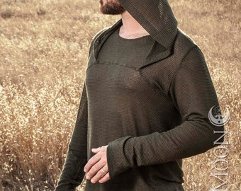 "LAST ONE- Men's ""ChainMail"" Mesh Knit Hooded Tunic Top in Olive Green or Beige by Opal Moon Designs (Size M & XL)"