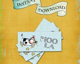 Christmas Money Holder / MOOLA Cash Gift Envelope / Xmas Money Card / Check Card / Stocking Stuffer / Cow Holly Stars Snow / DIY