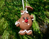 CHRISTMAS Parker GINGERBREAD Ornament - Polymer Clay Character Tree Ornament