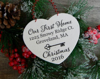 Our First Home Christmas Ornament Rustic Christmas Ornament Farmhouse Christmas Ornament Wood Heart Ornament Our First House Ornament