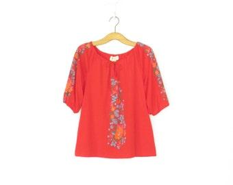 Vintage Peasant Blouse * Folk Floral Shoulder Shirt * Poet Blouse * Medium / Large
