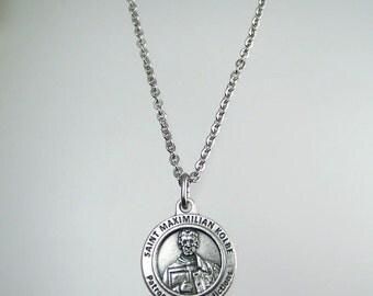 Saint Maximilian Kolbe Medal Necklace Patron Saint of Addictions